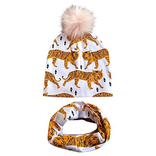 sunnymi Baby Printed - Gorro de lana desmontable con cuello impreso, 2 unidades E Talla Unica