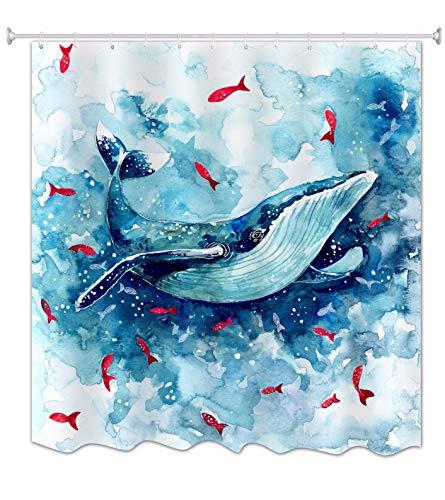 A.Monamour Duschvorhänge Blau Aquarell Wal Skizze Rot Fisch Kunstdruck Wasserdicht Mildewproof Stoff Polyester Lange Verdicken Duschvorhang Set Mit Haken 180X200 cm / 72