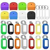 FineGood - Llavero de silicona con 32 etiquetas de plástico con ventana de etiquetas de anillo dividido para equipaje de mascotas, identificación, 64 unidades, multicolor