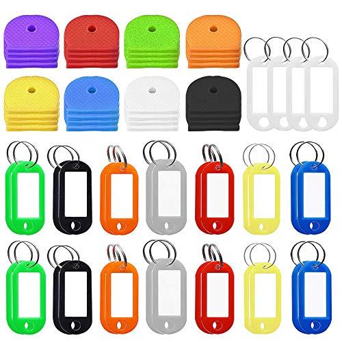 FineGood - Lote de 64 tapas y etiquetas, 32 identificadores de silicona...