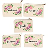 Bridal Shower Makeup Bag - 5-Pack Canvas Cosmetic Pouches for Wedding Favors, Bachelorette Party...