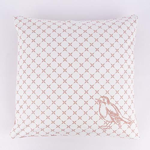 Mooi leven. Clayre & Eef omkeerbare kussenhoes vogels bloemen roze wit 50x50cm