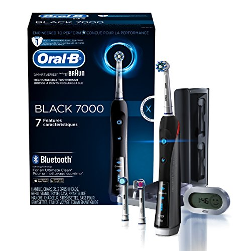 Oral-B 7000 SmartSeries Rechargeable Power Electric Toothbrush with 3 Replacement Brush Heads, Bluetooth Connectivity and Travel Case, Black, Powered