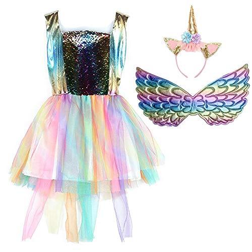 Yeesn Meisjes Eenhoorn Mesh Tulle Tutu Jurken Regenboog Kostuum met Eenhoorn Hoofdband Vleugels Set voor Verjaardag Thema Party Cosplay