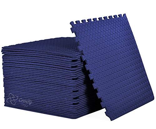 ComFy Puzzle Exercise Mat, EVA Foam Interlocking Tiles, Protective Flooring for Gym Equipment (NAVY, 4 TILES ( 16 Square feet))