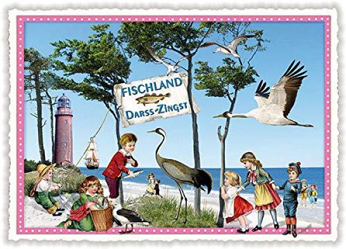 Nostalgische Ansichtskarte mit Glitzer * Fischland Darss-Zingst