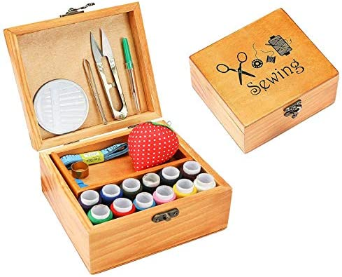 Wooden Sewing Kit Set Sewing Basket Organizer Box with Accessories Home Sewing Repair Tool Kit product image