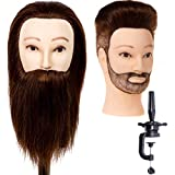 """Stancia Male Mannequin Head,Training Head with 100% Human Hair,14"""" Barber Mannequin Head, Hairdresser Manikin Head, Training Doll Head for Hair Styling and Practice(with Beard,Dark Brown)"""