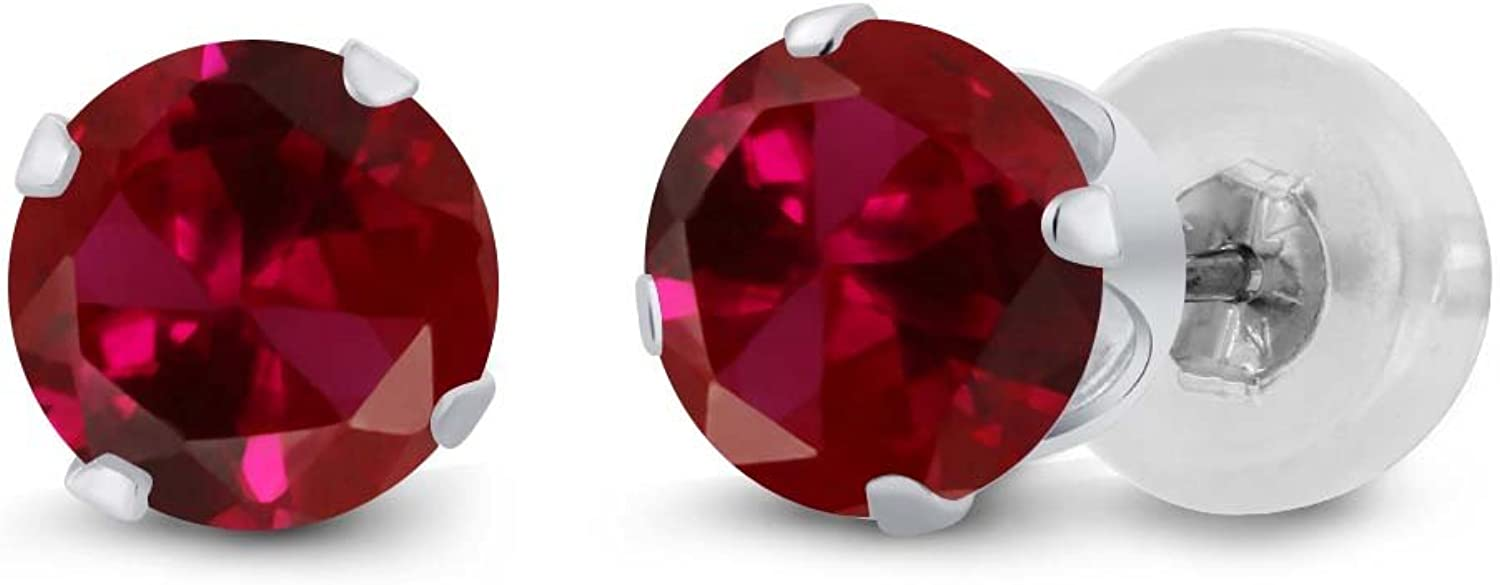 0.50 Ct Round 4mm Red Created Ruby 14K White gold Stud Earrings