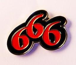 M/étal /émaill/é de Noir Broche Biker Rebel 666/Devil num/éro