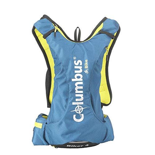 COLUMBUS Mochila Biker 4 para Ciclismo BTT o Senderismo con Bolsa de Hidratación Incluida. Mochila Impermeable Ligera, Transpirable y Cómoda para Caminar o IR en Bicicleta. Color Azul.