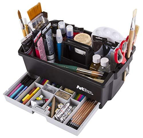 ArtBin 6963AG Aufbewahrungsbox für Kunst- und Bastelbedarf, 41,9 x 26,9 x 17,5 cm, für Kunst- und Bastelzubehör, mit Schubladen und Schlitzen, tragbar, schwarz/grau