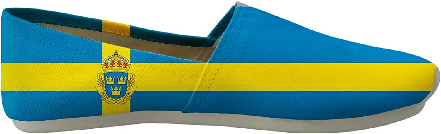 Owaheson Classic Canvas Slip-On Lightweight Driving shoes Soft Penny Loafers Men Women Sweden Flag National Emblem