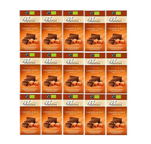 Maestrani Bio & Fairtrade Schokoladentafel Salz & Caramel | Schweizer Schokolade | 15 Tafeln Schokolade (15 x 80g) im Display | Swiss Organic Chocolate | Großpackung mit 1,2 kg