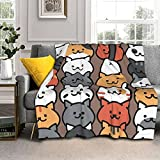 Adorable Cartoon Cat Throw Blanket, Ultra Soft Microplush Bed Blanket, All Season Microfiber Fleece Throw for Bed Chair Sofa Couch Bedroom 60'X50'
