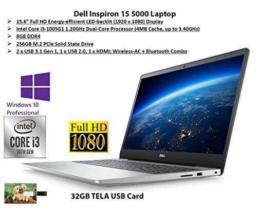 "2020 Newest Dell Inspiron 15 5000 Laptop, 15.6"" Full HD Screen, 10th Gen Intel Core i3-1005G1 up to 3.4GHz, 8GB DDR4 RAM, 256GB PCIe NVMe M.2 SSD, Wi-Fi, Win 10 Pro 