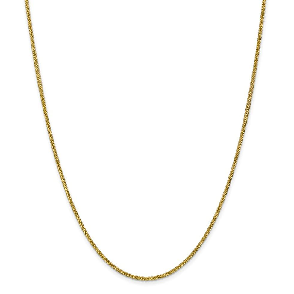 14k Gold Hollow Wheat Chain Necklace with Lobster Clasp (1.9mm)