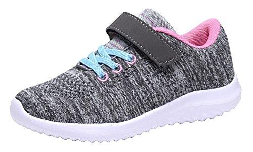 Umbale Girls Fashion Sneakers Comfort Running Shoes(Toddler/Kids) (13 M US Little Kid, Grey/Pink)