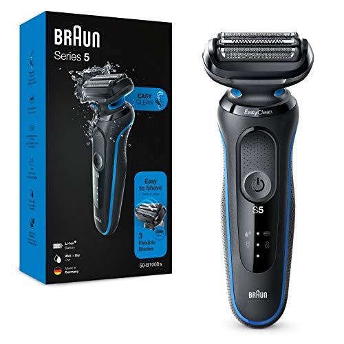 Braun Series 5 50-B1000s Rasoio Elettrico Barba, Wet&Dry, Ricaricabile, Rasoio A Lamina Senza Fili, Blu, Idea Regalo Festa del Papà