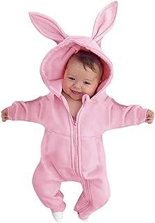 0-2 Años,SO-buts Recién Nacido Bebé Niñas Dibujos Animados Orejas De Conejo Sólidas Mono Con Capucha Mameluco Casual Zip P...
