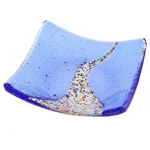 Glassofvenice Verre de Murano Klimt carré Assiette décorative – Bleu