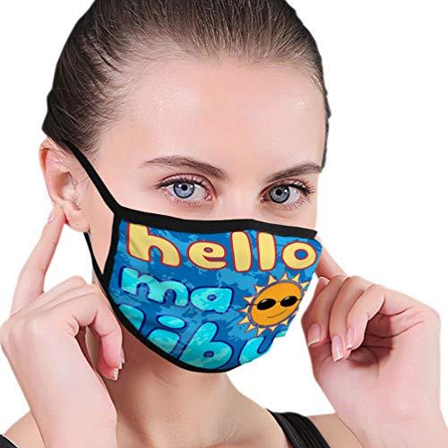 N/A Impresión Lavable Reutilizable máscara de Seguridad para la Boca con Orejeras Ajustables tipografía Malibu Beach California Estilo atlético impresión Deportiva Ropa Plantilla Tarjeta de Ropa