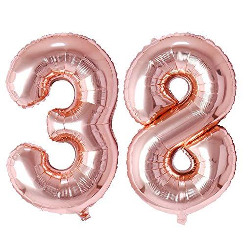 Ponmoo Rosegold Luftballon Zahlen 38 / 83. 0 bis 100 Riesige Folienballon Zahl Geburtstagsdeko, Deko zum Geburtstag Folienluftballon 38 83, Dekoration Birthday Zahlenballon 38 / 83 Rosegold