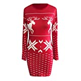 Pumsun Womens Christmas Mini Dress Ladies Long Sleeve Xmas Hip Dresses (XL, Red)