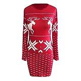 Pumsun Womens Christmas Mini Dress Ladies Long Sleeve Xmas Hip Dresses (XL, Red)