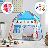 OYE HOYE Kids Castle Play Tent Teepee Large Toddler's Playhouse with Sticky Balls, String Lights, Storage Pockets & Windows for Indoor/ Outdoor Use with Carry Bag for Boys & Girls, Ideal Gift in Blue