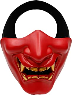Outdoor Base Airsoft Half Face Mask Evil Demon Monster Kabuki Samurai Hannya Oni Protective Masks for Halloween Cosplay Costume Tactical Hunting Shooting