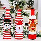 Juego de 3 fundas para botellas de vino tinto para decoración navideña, bolsas de botella de vino, suéter de punto 3D de Papá Noel muñeco de nieve, reno, decoración de Navidad, regalo bolsas de vino