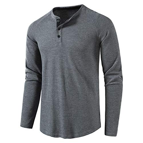 LOCALMODE Men's Casual Crew Neck Long Sleeve T Shirts of Waffle Henley Charcoal XL
