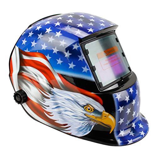Geelife Solar Powered Welding Helmet Auto Darkening Hood with Adjustable Shade Range 4/9-13 for Mig Tig Arc Welder Mask (Flag Eagle I I)