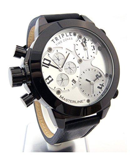 Master line1966XXL Hombre Reloj 52mm Triple Time Chrono de imitación Negro Piel ml06166002