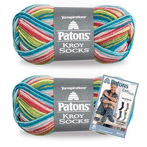 Patons Kroy Socks Yarn, 2-Pack, Meadow Stripes Plus Pattern