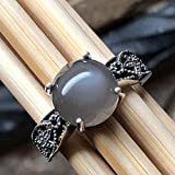 Natural Grey Orthoclase Moonstone 925 Sterling Silver Engagement Ring Size 6, 6.25, 7.75, 8, 8.75, 9