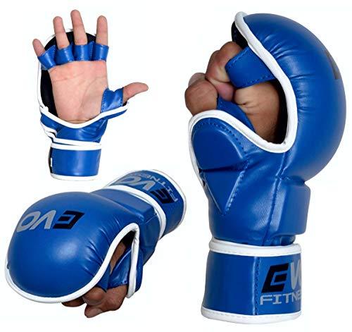 EVO Fitness Ringen MMA Gel Handschuhe Käfig UFC Kampf Sparring Handschuh Training - Blau, L