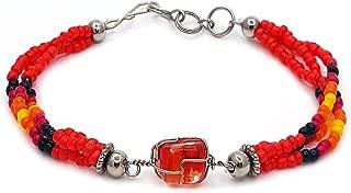 Mia Jewel Shop Handmade Native American Style Tribal Wire Wrapped Tumbled Stone Beaded Multi Strand Bracelet