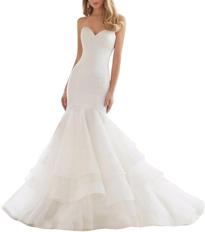 JudyBridal Women Organza Mermaid Wedding Bridal Dress Gowns with Court Train