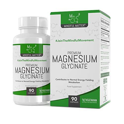 Mindful Matter Magnesium Glycinat HOCHDOSIERTE Kapseln 250mg   90 Vegane Kapseln   Für Kognitive Gesundheit, Gegen Muskelkrämpfe   Am Besten Aufgenommene Magnesiumform   Gentechnik- & Glutenfrei