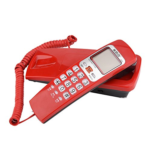 Wendry Teléfono Fijo,Teléfono FSK/DTMF Identificador de Llamadas, Teléfono con Cable, Teléfono Puesto en Línea Fija, Teléfono de Extensión de Moda para Casa(Rojo)
