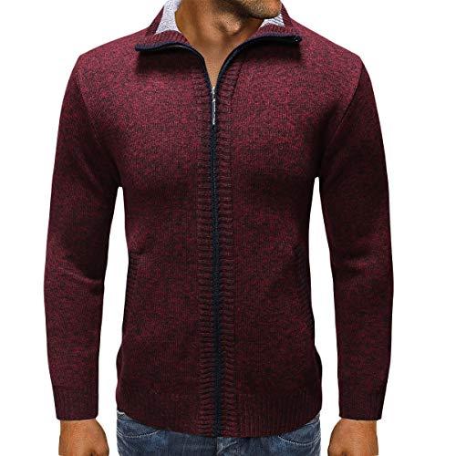 Heren gebreid vest dikke trui volledige voorzijde rits turn down kraag fleece gevoerde winter trui