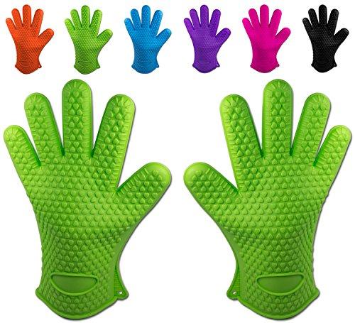 Belmalia 2 Backhandschuhe, Silikon, NEU: noch hitzebeständiger, Grillhandschuhe, Topflappen, Ofenhandschuhe Grün