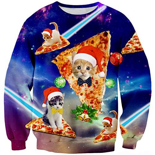 Goodstoworld 3D Christmas Pullover Jugendliche Mädchen Herren Lustige Weihnachtspullover Katze Hässliche Kleider T-Shirt Hemd XXL