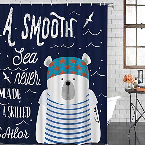 XZLWW Schattige ijsbeer zeeman douchegordijn badkamer Decor stof douchegordijn Boerderij Decor