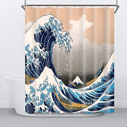 NIBESSER Duschvorhang 180x180 Textil Anti-Schimmel Badvorhänge Wasserabweisend Shower Curtain mit 12 Duschvorhangringen Meer