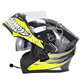 ME&ME Bluetooth Motorcycle Helmets, Modular Helmet with Built-in Bluetooth Headset, Dual Visors DOT Certified Full-Face Motorcycle Helmet for Men,Yellow,XXL