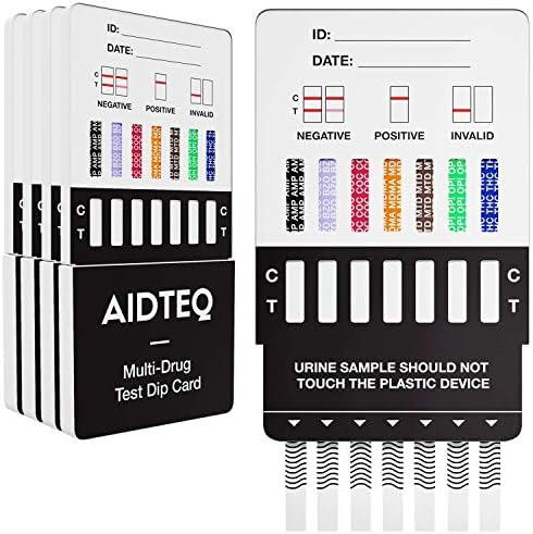 5 x Aidteq tarjetas de prueba de drogas para siete drogas | Prueba de drogas para orina | Prueba de cocaína, opiáceos, metadona, anfetaminas, cannabis, éxtasis y benzodiacepinas