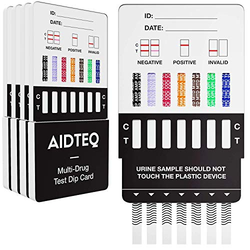 5 x Aidteq Professional 7-in-1 Rapid Drug Test Dip Cards | Urine Drug Tests | Test for Cocaine, Opiates, Methadone, Amphetamines, Cannabis, Ecstasy & Benzodiazepines